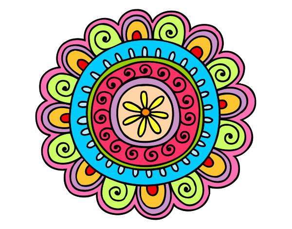 dibujo de mandala alegre pintado por indianaj en dibujos