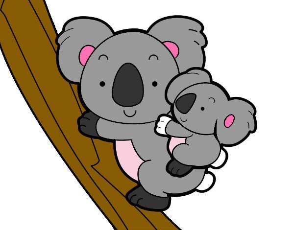 Dibujo de Madre koala pintado por Daniela624 en Dibujosnet el da