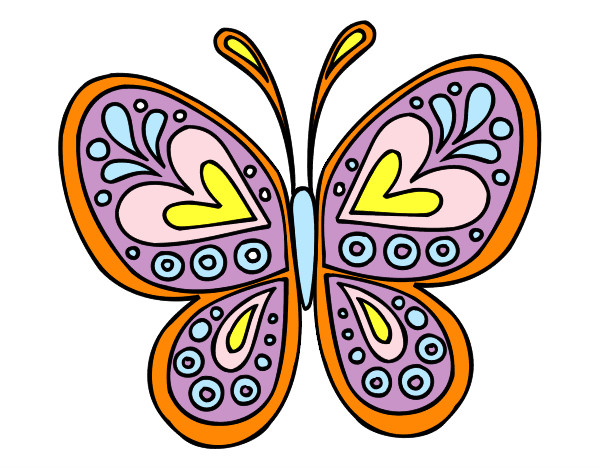 Dibujos De Mariposas Infantiles A Color: Dibujo De Mandala Mariposa Pintado Por Dibujada En Dibujos