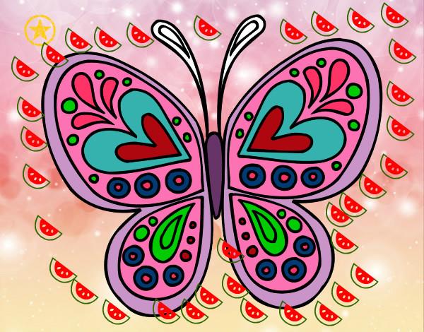 Dibujo de mandala mariposa pintado por pared en dibujos for Mandalas de decoracion para pared