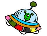 Dibujo Extraterrestre en nave espacial pintado por sirula