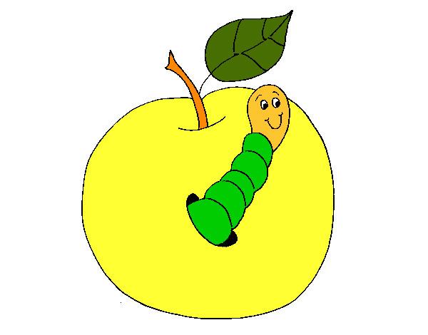 Dibujo de Manzana con gusano pintado por Eleit en Dibujosnet el
