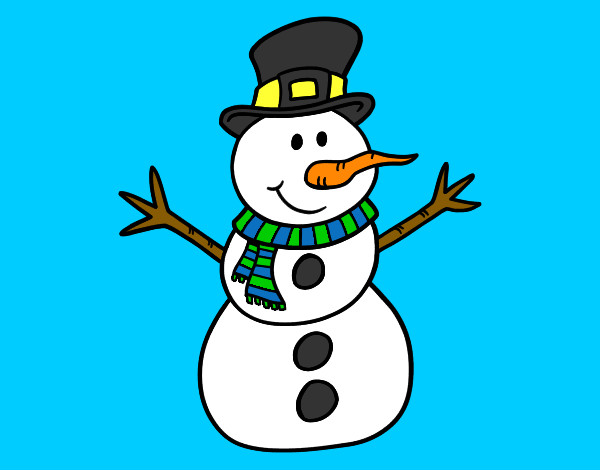 Muñeco De Nieve Dibujo: Dibujo De Muñeco De Nieve Con Sombrero Pintado Por