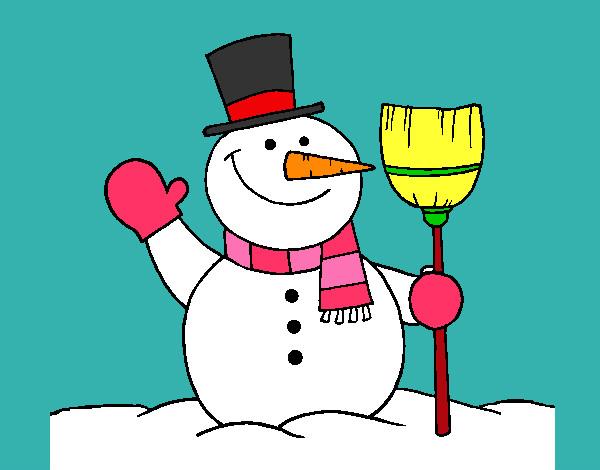Dibujo de mu eco de nieve con escoba pintado por for Dibujos de navidad pintados