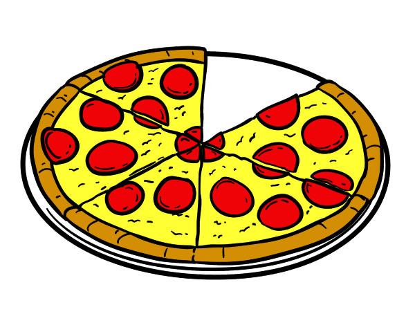 Dibujo de Pizza de pepperoni pintado por Thomasr en Dibujosnet el