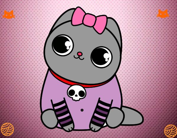 Dibujo de gatito tierno pintado por Videl44 en Dibujosnet el da