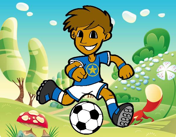 Dibujo De Jugador De Fútbol Con Balón Pintado Por Chicoxd