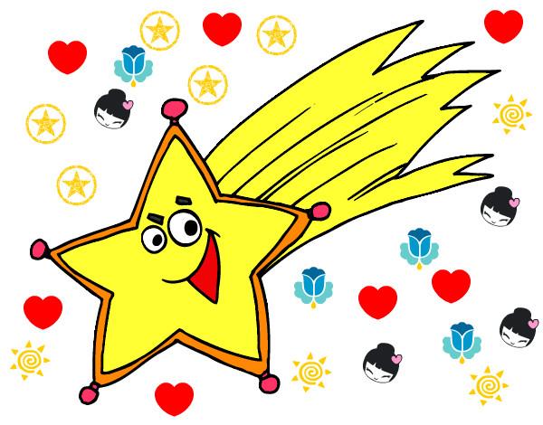 Dibujo de estrella fugaz pintado por monshyasan en dibujos for Estrella fugaz navidad