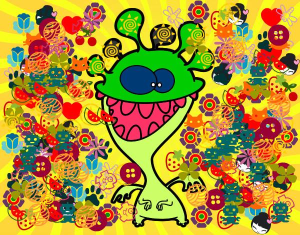 Dibujo De Monstruo Con Antenas Para Colorear: Dibujo De Monstruo Con Antenas Pintado Por Looollla En
