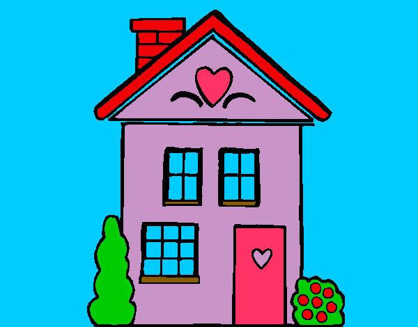 Dibujo de casa lila con corazones pintado por anabelen1 en for Dibujos en techos de casas