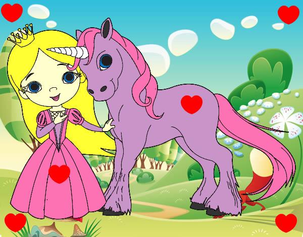 Dibujo De Princesa Y Unicornio Pintado Por Uyft En Dibujosnet El