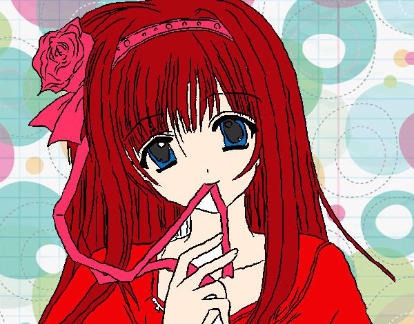 Dibujo de Chica anime pintado por Solesit en Dibujosnet el da 08