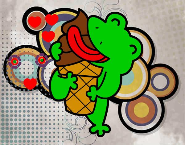 Dibujo de rana comiendo helado pintado por Carla381 en Dibujosnet