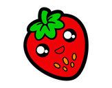 Dibujo Fresa feliz pintado por peterg