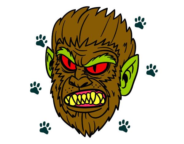 Cara de Hombre Lobo Pintado