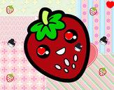 Dibujo Fresa feliz pintado por kariett