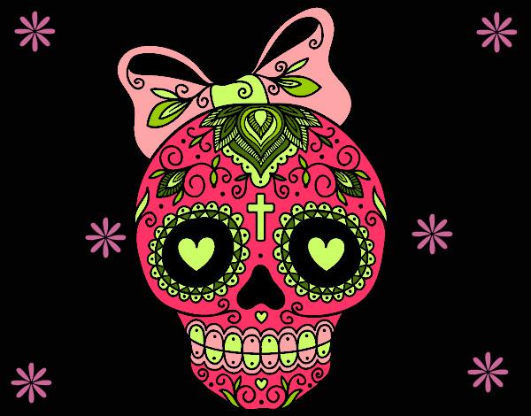 Dibujo de Calavera mexicana con lazo pintado por Elisanche7 en