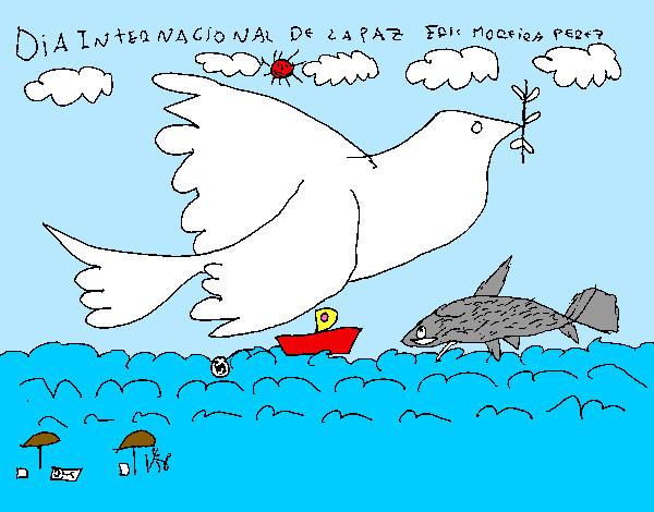 Dibujo de Da Internacional de la Paz pintado por Ariesda en