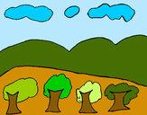 Dibujo Paisaje con montañas pintado por ynes