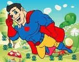 Dibujo Superhéroe volando pintado por 1970