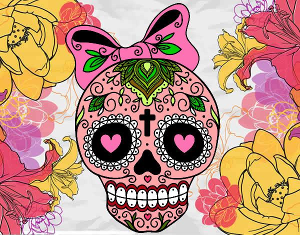 Dibujo de Calavera mejicana con lazo pintado por Susacoli en