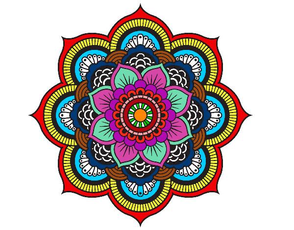 dibujo de mandala flor oriental pintado por gusanobel en
