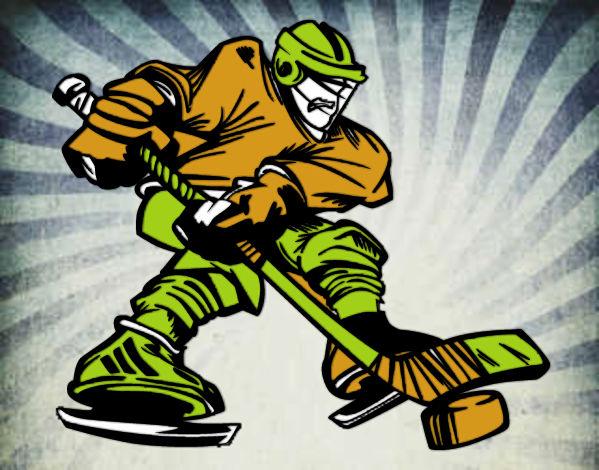 Dibujos Para Colorear Jugador De Hockey: Dibujo De Jugador De Hockey Profesional Pintado Por Mans