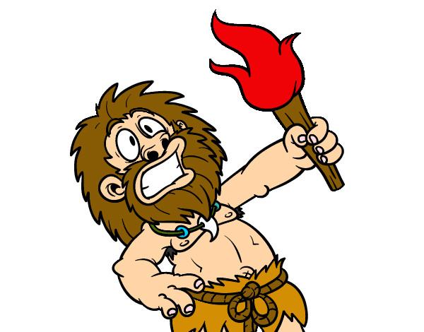 Dibujo de hombre primitivo crea fuego pintado por Aylu2339 en