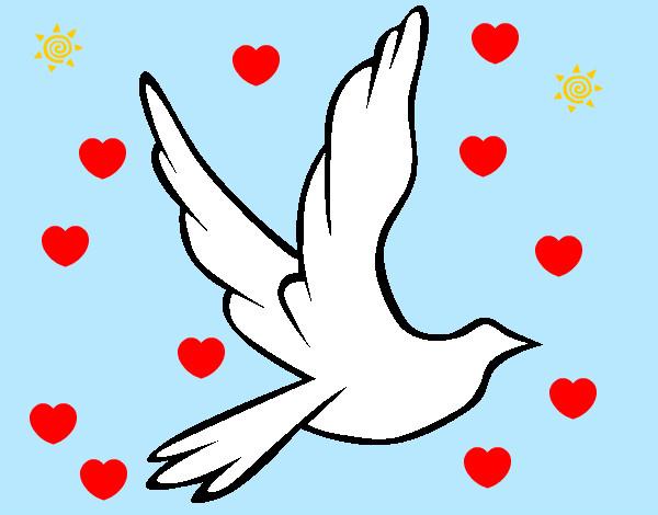 Dibujo de Paloma de la paz al vuelo pintado por Ureta en Dibujos