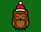 Dibujo Búho navideño pintado por NatyP