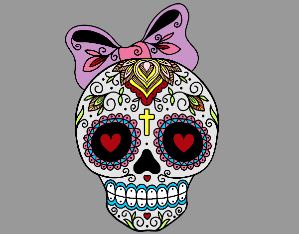 Dibujo de Calavera mejicana con lazo pintado por Maalee723 en