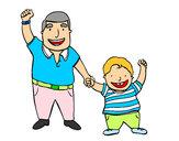 Dibujo Papá e hijo pintado por manolisol