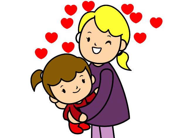 Dibujo de Abrazo con mam pintado por Laum en Dibujosnet el da