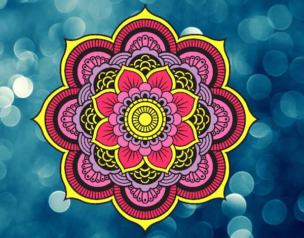 dibujo de mandala flor oriental pintado por ureta en On dibujos mandalas coloreados