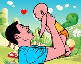 Dibujo Padre y bebé pintado por Fausti