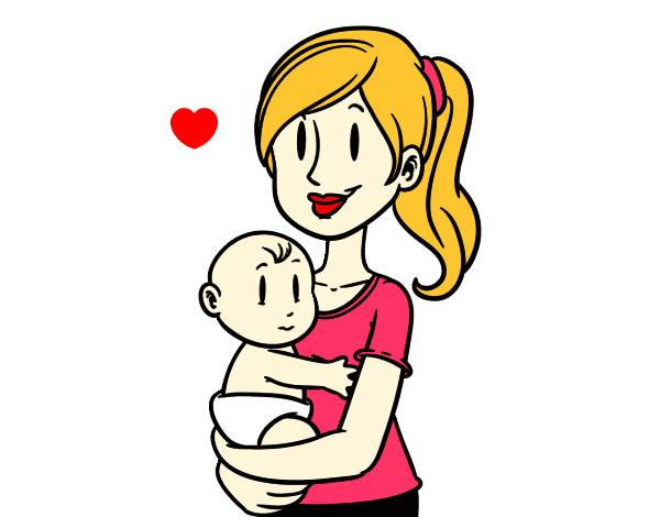 Dibujo de En brazos de mam pintado por Jacquiii en Dibujosnet el