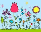 Dibujo Flores del bosque pintado por Sandyita