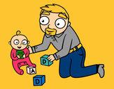 Dibujo Padre jugando con bebé pintado por agu999