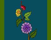 Dibujo Rama con flores pintado por blanca