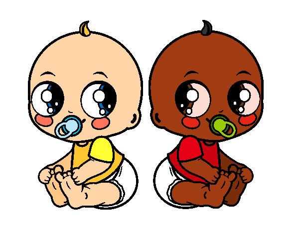Dibujo de beb s gemelos pintado por elenart en - Dibujos pared bebe ...