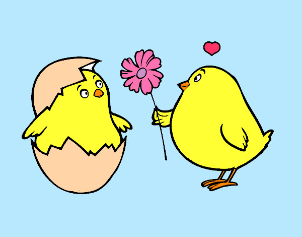 Dibujo de Pollitos enamorados pintado por Pao862 en Dibujos.net el ...