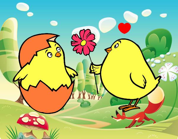 Dibujo de Pollitos enamorados pintado por Zamii en Dibujos.net el ...