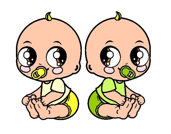 Dibujo de beb s gemelos pintado por jhoanaa en - Dibujos pared bebe ...