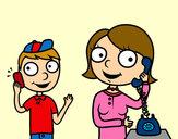 Dibujo Madre hablando por teléfono pintado por queyla