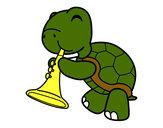 Dibujo Tortuga con trompeta pintado por Vikigu