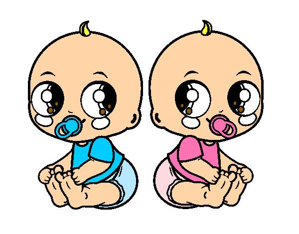 Dibujo De Un Bebe A Color: Dibujo De Bebés Gemelos Pintado Por Miri7175 En Dibujos