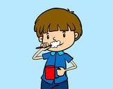 Dibujo Cepillarse los dientes pintado por queyla