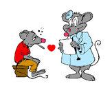Dibujo Doctor y paciente ratón pintado por miapp