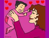 Dibujo Madre con su bebe 1 pintado por dianita12