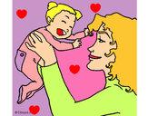 Dibujo Madre con su bebe 1 pintado por gery02